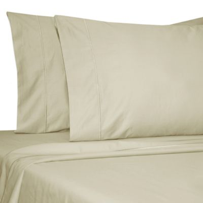 Damask Solid 500-Thread-Count Egyptian Cotton Olympic Queen Sheet Set in Taupe