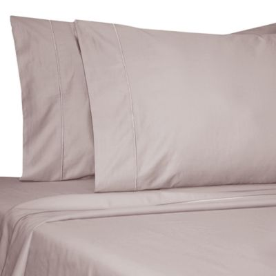 Damask Solid 500-Thread-Count Egyptian Cotton Olympic Queen Sheet Set in Lilac