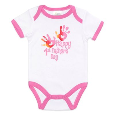 "Baby Gear Size 9M ""Happy 1st Father's Day"" Handprints Bodysuit in White/Pink"