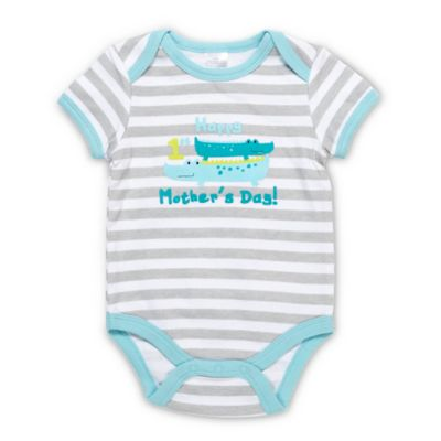 "Baby Gear Size 6M ""Happy 1st Mother's Day"" Crocodiles Bodysuit in Turquoise"