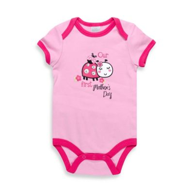 """Baby Gear Size 9M """"Our First Mother's Day"""" Ladybug Bodysuit in Pink/Fuchsia"""