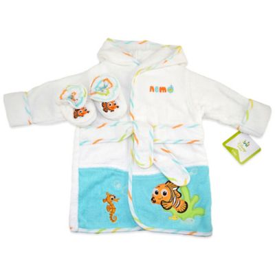 Disney® Nemo Size 0-6M 2-Piece Terry Bathrobe and Booties Set