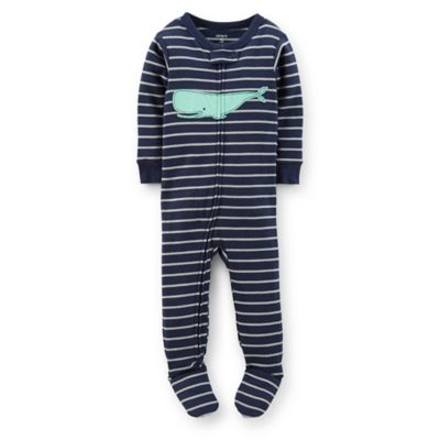 Carter's® Size 12M Striped Whale PJ in Blue