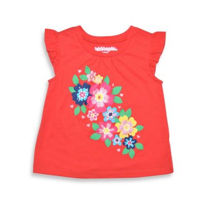 Kidtopia Size 12M Flutter Sleeve Floral Glitter Top in Coral