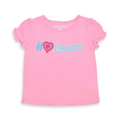 """Kidtopia Size 2T """"#♡Daddy"""" Cap Sleeve T-Shirt in Pink/Blue"""