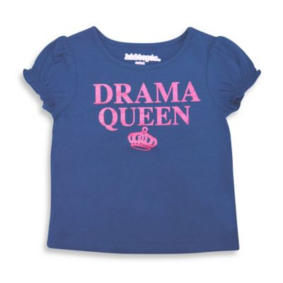 "Kidtopia Size 18M ""Drama Queen"" Cap Sleeve T-Shirt in Navy/Pink"