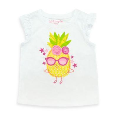 Kidtopia Size 4T Pineapple Flutter Sleeve T-Shirt in White with Rosette