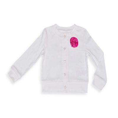 Kidtopia Size 18M Cardigan with Polka Dot Rosette in White/Pink