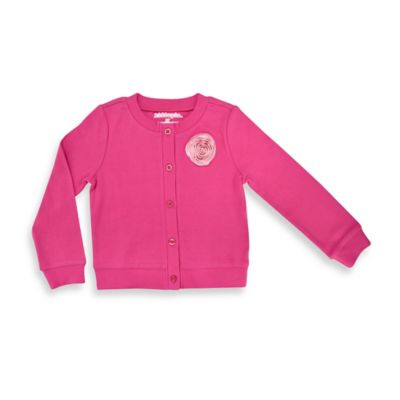Kidtopia Size 18M Cardigan with Polka Dot Rosette in Solid Pink