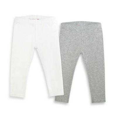 Kidtopia Size 3T 2-Pack Solid Legging in Heather Grey/White