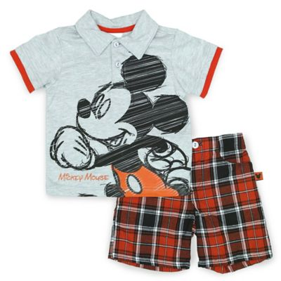 Disney® Size 4T Mickey Mouse 2-Piece Polo and Short Set in Grey/Red