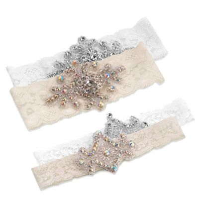 Lillian Rose™ 2-Piece Jeweled Garter Set in White