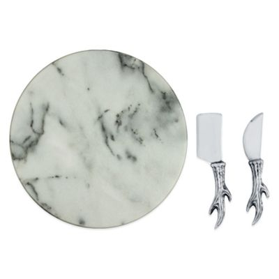 Arthur Court Designs 3-Piece Antler Marble Cheese Set
