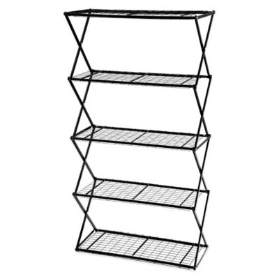 Exy 5 Tier Lift and Lock Storage Shelf Tower in Black