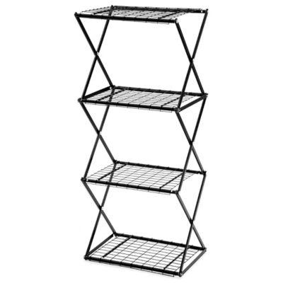 Exy 4 Tier Skinny Shelf Tower in Black