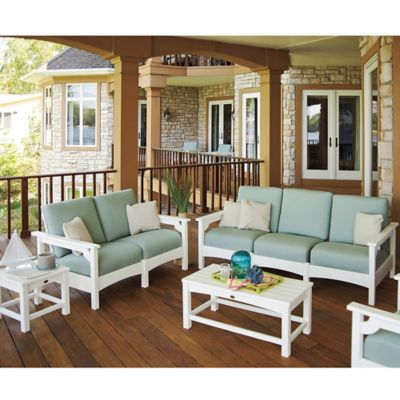 POLYWOOD® Club 5-Piece Deep Seating Conversation Set in White/Navy