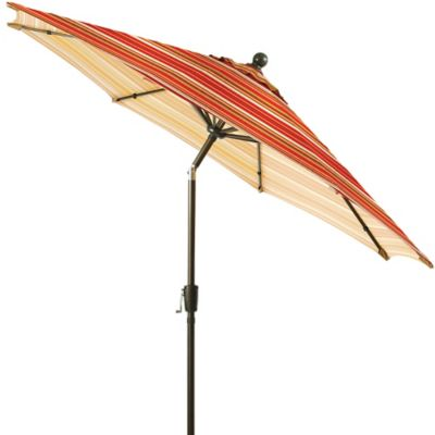 9-Foot Round Aluminum Patio Umbrella in Spice Stripe