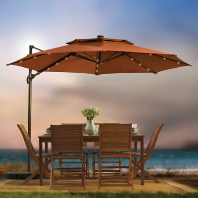 11-Foot Round Solar Cantilever Umbrella in Terracotta