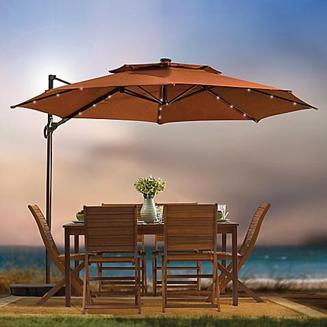 11 Foot Round Solar Cantilever Umbrella Bed Bath Amp Beyond