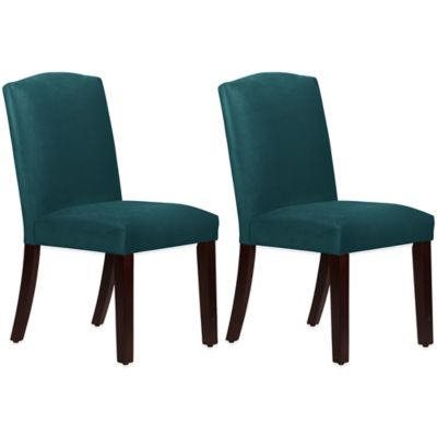 Skyline Furniture Diana Arched Dining Chairs in Mystere Peacock (Set of 2)
