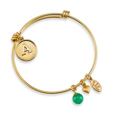 "Shine Goldtone Letter ""B"" Charm Bangle"