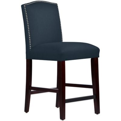 Skyline Furniture Roselyn Nail Button Arched Counter Stool in Linen Navy