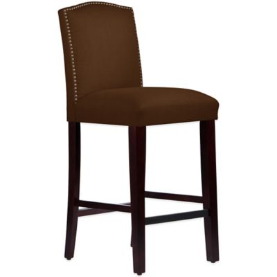 Skyline Furniture Roselyn Nail Button Arched Barstool in Linen Chocolate