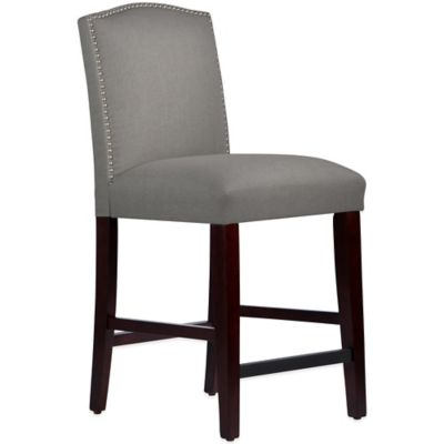 Skyline Furniture Roselyn Nail Button Arched Counter Stool in Linen Grey