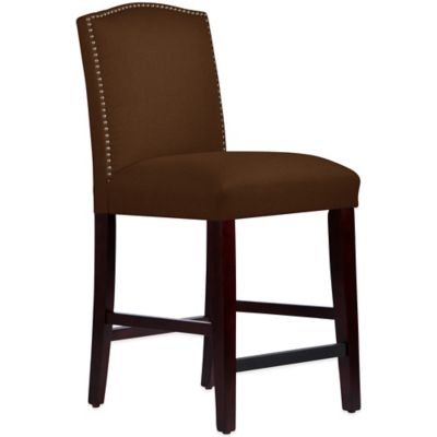 Skyline Furniture Roselyn Nail Button Arched Counter Stool in Linen Chocolate