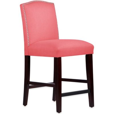 Skyline Furniture Roselyn Nail Button Arched Counter Stool in Linen Coral