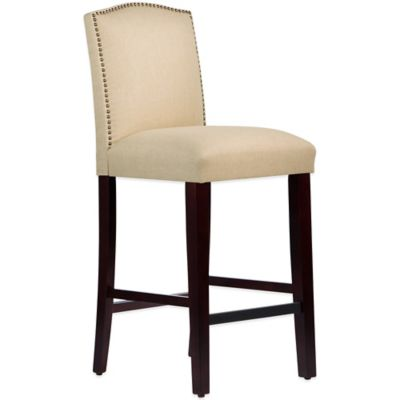 Skyline Furniture Roselyn Nail Button Arched Barstool in Linen Sandstone