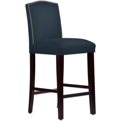Skyline Furniture Roselyn Nail Button Arched Barstool in Linen Navy