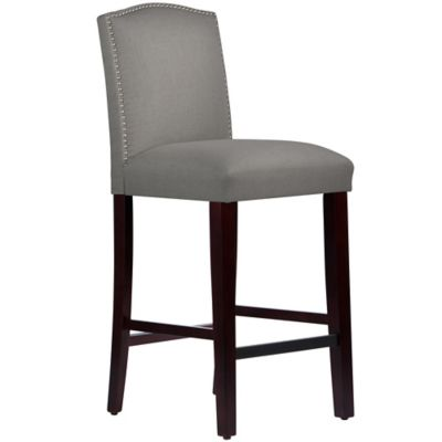 Skyline Furniture Roselyn Nail Button Arched Barstool in Linen Grey