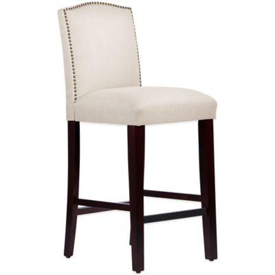 Skyline Furniture Roselyn Nail Button Arched Barstool in Linen Talc