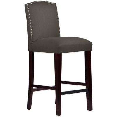 Skyline Furniture Roselyn Nail Button Arched Barstool in Linen Cindersmoke