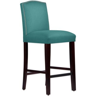Skyline Furniture Roselyn Nail Button Arched Barstool in Linen Laguna
