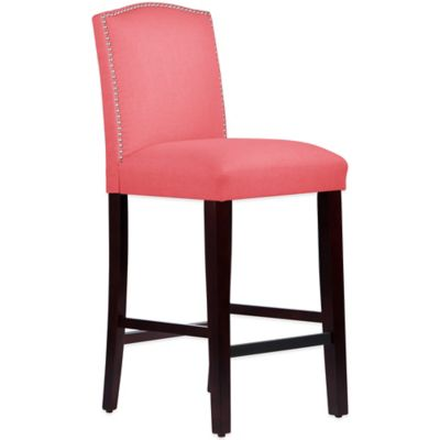 Skyline Furniture Roselyn Nail Button Arched Barstool in Linen Coral