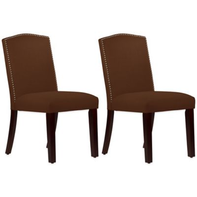 Roseyln Nail Button Arched Dining Chairs in Linen Chocolate (Set of 2)