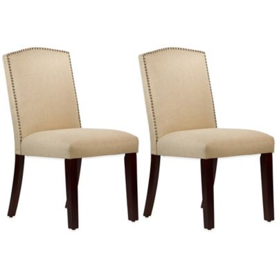 Roseyln Nail Button Arched Dining Chairs in Linen Sandstone (Set of 2)