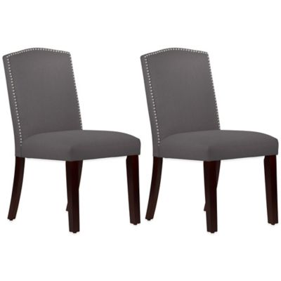 Roseyln Nail Button Arched Dining Chairs in Linen Cindersmoke (Set of 2)