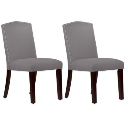 Roseyln Nail Button Arched Dining Chairs in Linen Grey (Set of 2)