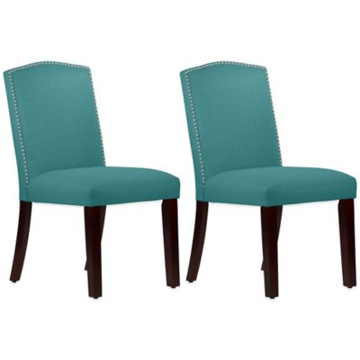 Roseyln Nail Button Arched Dining Chairs in Linen Laguna (Set of 2)