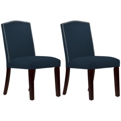 Roseyln Nail Button Arched Dining Chairs in Linen Navy (Set of 2)