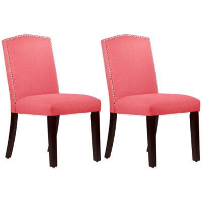 Roseyln Nail Button Arched Dining Chairs in Linen Coral (Set of 2)