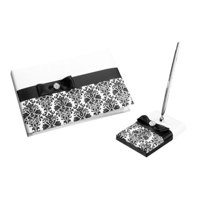 Lillian Rose™ Guest Book and Pen Set in Black