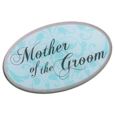 Lillian Rose™ Mother of the Groom Oval Pin in Aqua