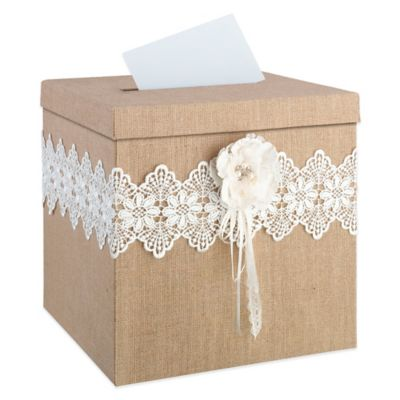 Lillian Rose™ Burlap and Lace Card Box