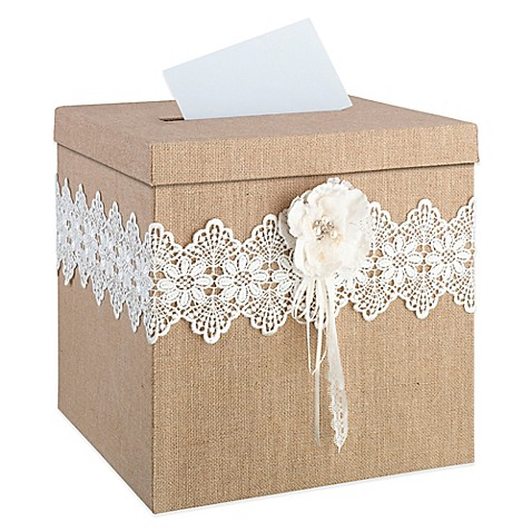 Buy lillian rose burlap and lace card box from bed bath for Burlap and lace bedroom