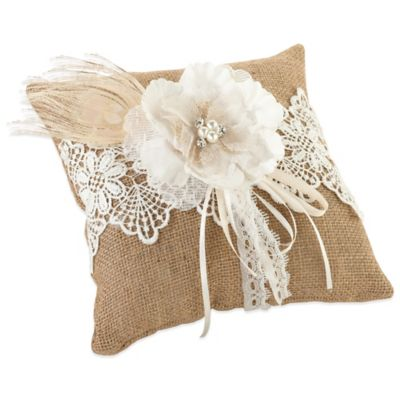 Lillian Rose™ Burlap and Lace Ring Pillow