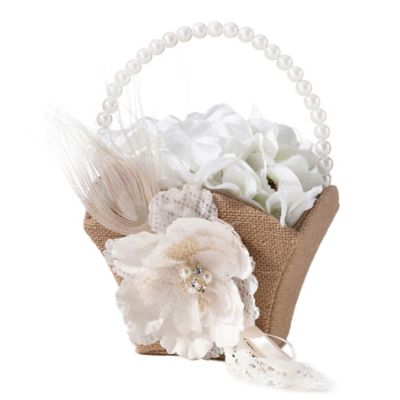 Lillian Rose™ Burlap and Lace Flower Basket